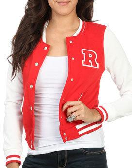 "Wet Seal WetSeal Baseball ""R"" Applique Jacket Red"