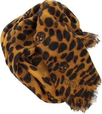 Alexander McQueen Leopard Scarf with Skulls