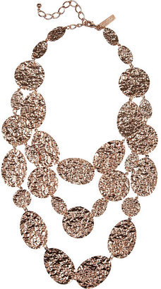 Oscar de la Renta Hammered rose gold-plated multi-strand necklace