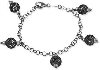 Sterling Fancy Textured Ball Dangle Bracelet
