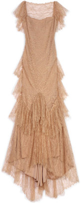 Marchesa Ruffle Sleeve Lace Gown