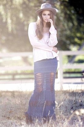 Nightcap Clothing Shredded Lace Skirt in Denim Blue