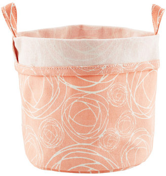 Container Store Fabric Bucket Roses Pink
