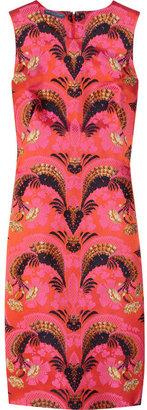 Alexander McQueen Satin-brocade shift dress
