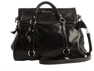 Miu Miu Black Leather Convertible Top Handle Shopping Tote