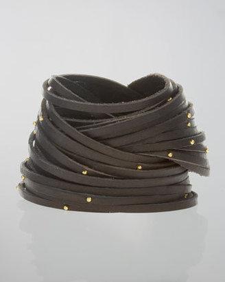 Linea Pelle Double-Wrap Studded Leather Bracelet, Black
