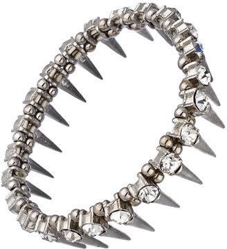 Blu Bijoux Crystal and Silver Spike Stretch Bracelet