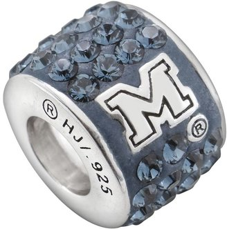 LogoArt Michigan Wolverines Sterling Silver Crystal Logo Bead - Made with Swarovski Elements