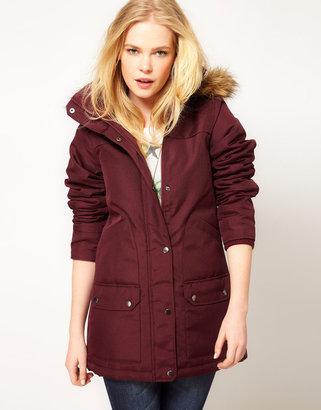 Vero Moda Fur Trim Hood Parka Coat