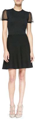 RED Valentino Point d'Esprit Yoked Short Knit Dress, Black