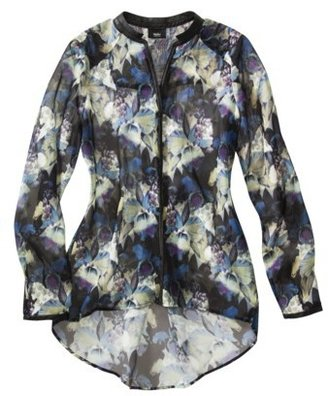 Mossimo Women's High-Low Tunic Blouse -Floral Print