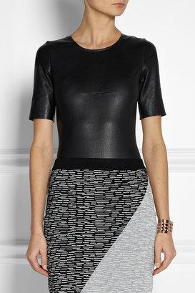 Maison Martin Margiela Leather and stretch-knit bodysuit