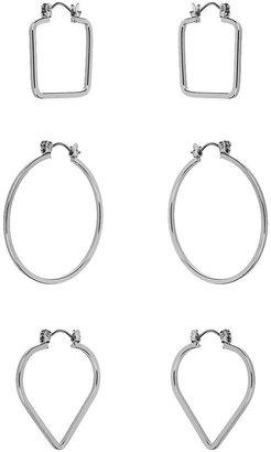 Topshop Mixed shape hoop earrings