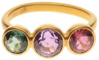 Marie Helene De Taillac 22K gold ring with triple precious stones