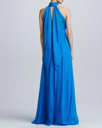 Badgley Mischka Silk Gathered Halter Gown