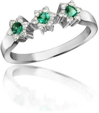 Trilogy 18K Gold Emerald and Diamond Flower Ring
