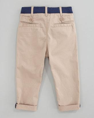 Little Marc Jacobs Gabardine Contrast-Trim Pants, Sizes 6A-10A