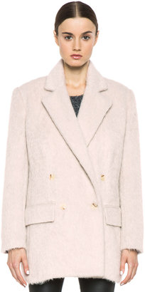BLK DNM Double Breasted Wool-Blend Coat in Dusty Pink