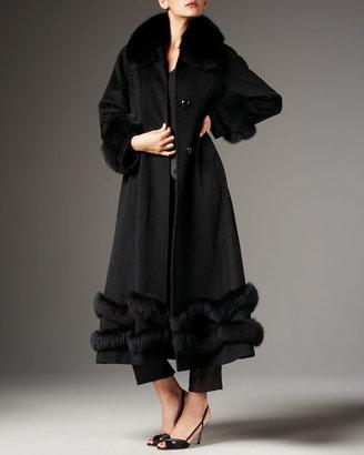 Belle Fare Fox-Trim Ankle-Length Coat
