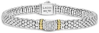 Lagos 18K Gold and Sterling Silver Square Diamond Bracelet