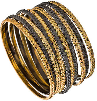 Blu Bijoux Black And Gold Tone French Braid Bangles