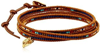 Chan Luu seed bead wrap bracelet with gold vermeil feather charm