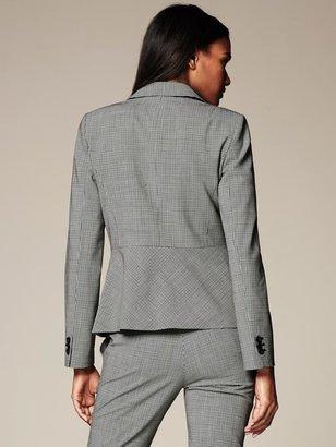 Banana Republic Black Check Lightweight Wool One-Button Blazer