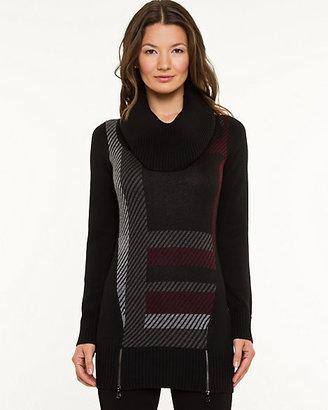 Le Château Check Print Cowl Neck Sweater