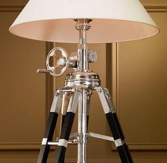 Restoration Hardware Royal Marine Tripod Floor Lamp - Polished Aluminum and Black