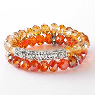 Vera Wang Simply vera two tone bead and simulated crystal stretch bracelet set