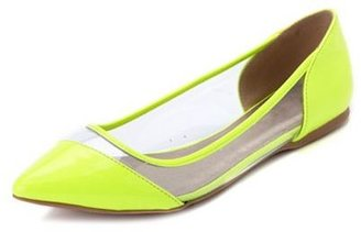 Charlotte Russe Clear Side Pointy Toe Ballet Flat