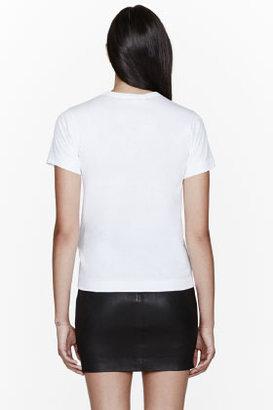Comme des Garcons White Pink logo and applique T-Shirt