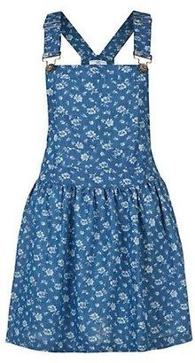 New Look Dark Blue Denim Floral Print Pinafore Dress
