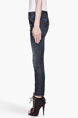DSquared DSQUARED2 Blue distressed and paint-splattered Cool Girl Jeans