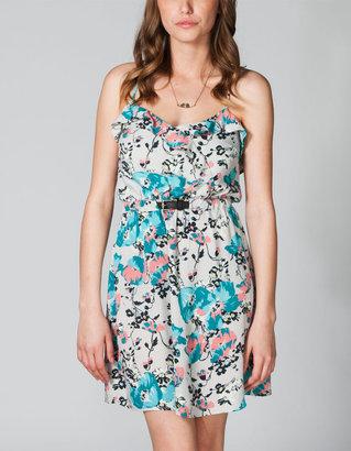 Full Tilt Ruffle Belted Floral Dress