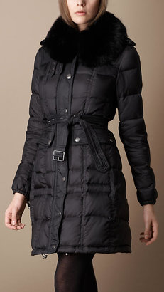 Burberry Fur Overcollar Quilted Jacket
