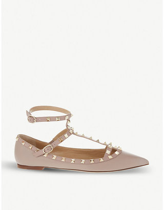 Valentino Rockstud leather pointed toe flats, Women's, Size: EUR 35.5 / 2.5 UK WOMEN, Nude