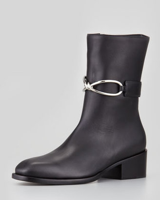 Balenciaga Mid-Calf Leather Boot, Black