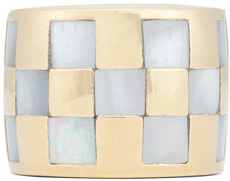 Kelly Wearstler Curiosity Checkerboard Inlay Ring in Mother of Pearl