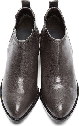 Alexander Wang Dark Grey Leather Silver-Heeled Kori Ankle Boots