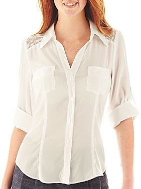 JCPenney by&by Button-Front Lace Inset Blouse