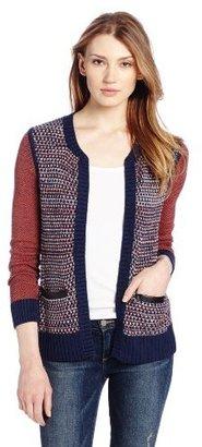 Ella Moss Women's Kate Knit Faux Leather Detail Sweater Jacket