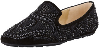 Jimmy Choo Wheel Embroidered Studded Smoking Slipper