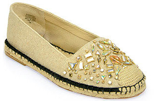 Brian Atwood B by Hardesty 2 - Natural Canvas Jeweled Espadrille Flat