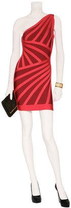 Herve Leger Lipstick and Cranberry One-Shoulder Bandage Dress