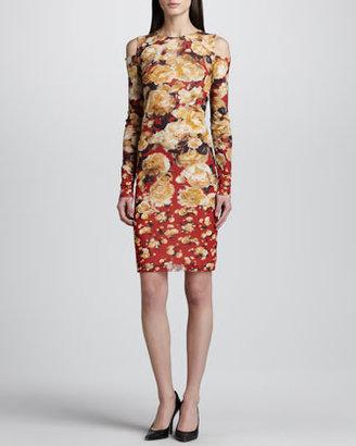 Jean Paul Gaultier Cold-Shoulder Floral-Print Dress, Red/Multicolor