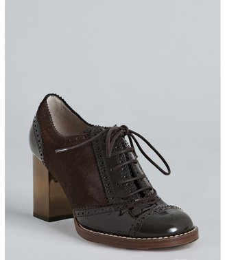 Dolce & Gabbana brown calf hair and patent tooled oxford pumps