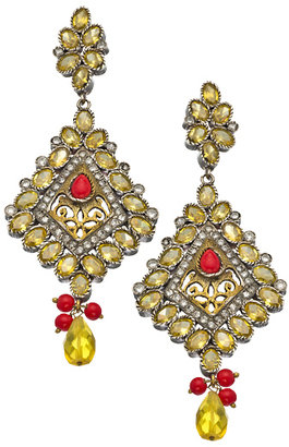 Taara Gold Coral and Crystal Chandelier Earrings