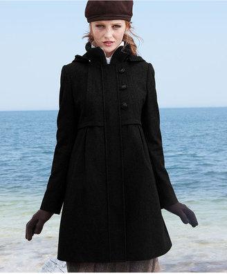 DKNY Coat, Empire-Waist Wool-Blend Hooded