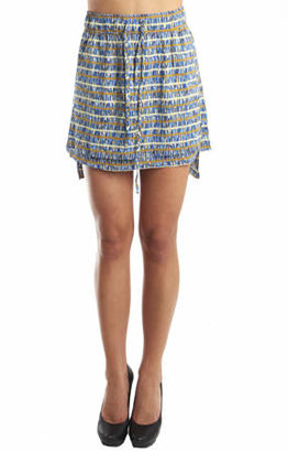 Suno Apron Skirt in Blue Multi